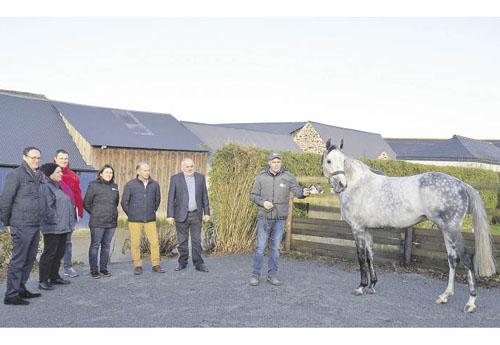 De gauche à droite : Christian Dubois (Equicer), Catherine Hinry et Michael Bleybrunner (MSA), Anne Carriou-Feinduno (IFCE), André Plessis (CEB), Alain Bignon (SAFER) et Tangui Saliou (© CEB)