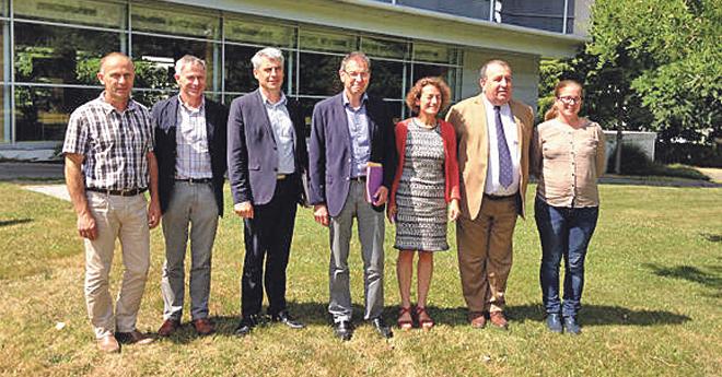 De gauche à droite : André Plessis, Philippe Hercouët, Olivier Allain, Alain Le Quellec, Patrice Ecot, Eric Touron, Julie Gobert (GIP - Cheval Breton ©2018)