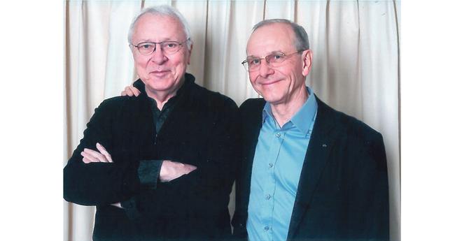 Jean-Louis Gouraud et Axel Kahn en 2014, nommés tous deux «Ambassadeurs» des Jeux Equestres Mondiaux